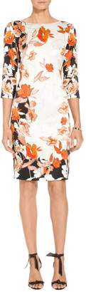 St. John Modern Floral Stretch Silk Charmeuse Dress