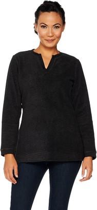 Denim & Co. Essentials Split V-Neck Chenille Fleece Long Sleeve Top