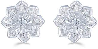 FINE JEWELRY 1/6 CT. T.W. Genuine White Diamond Sterling Silver 9.4mm Flower Stud Earrings