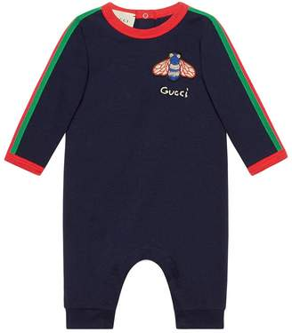 Gucci Kids Baby cotton sleepsuit with Web
