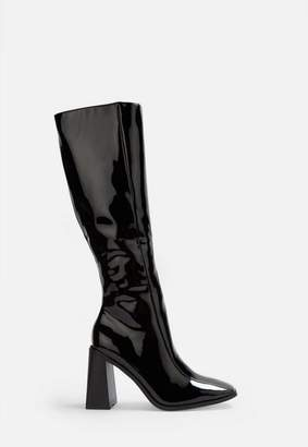 Missguided Black Patent Square Toe Knee High Boots