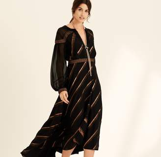 Amanda Wakeley Black Metallic Chiffon Stripe Dress