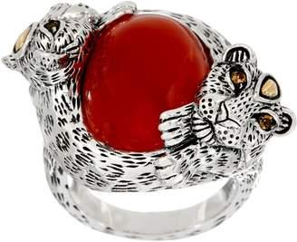 Jai JAI Sterling Leopard Wrapped Jade Cabochon Ring