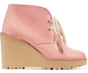 RED Valentino Patent-Leather Wedge Ankle Boots