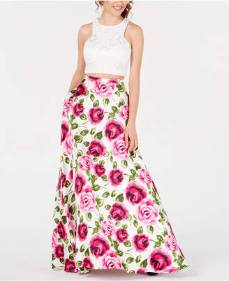 B. Darlin Juniors' 2-Pc. Lace Floral-Print Gown