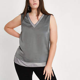 River Island Womens Plus dark Grey V neck tank top