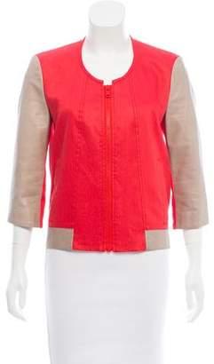 Helmut Lang Leather-Paneled Linen Jacket