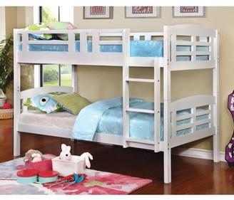 Furniture of America Jina Twin Over Twin Wood Bunk Bed, White