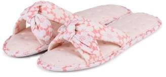 Isotoner Ladies Floral Knot Front Open Toe Slipper