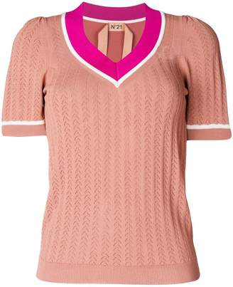 No.21 V-neck knitted top
