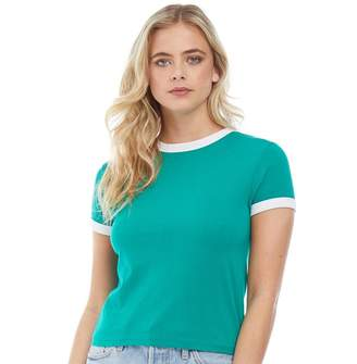 Brave Soul Womens Claudia Contrast Rib T-Shirt Emerald/White