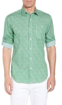 Bugatchi Shaped Fit Striated Print Sport Shirt