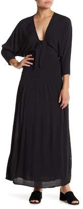 Amuse Society Sunset Row Tie Front Shirred Maxi Dress