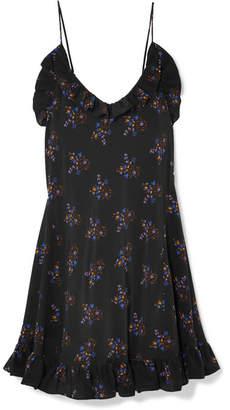 Les Rêveries - Ruffled Floral-print Silk Crepe De Chine Mini Dress - Black