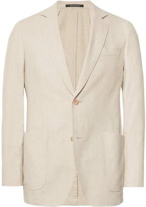 Richard James Beige Spirit Slim-Fit Cotton-Blend Bouclé Blazer
