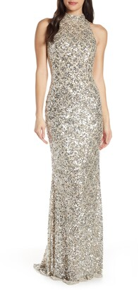 Mac Duggal Scallop Pattern Sequin Gown