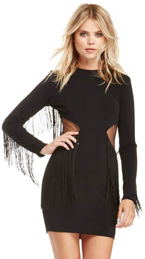 Dress The Population Pennie Long Sleeve Fringe Dress in black XS - M