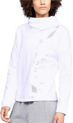 Under Armour Women's Rival Vertical Graphic Funnel-Neck Hoodie