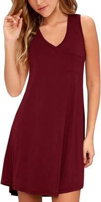 KEEDONE Women's Sleeveless Pockets Casual Swing T-Shirt Dresses (L, 01Wine Red)