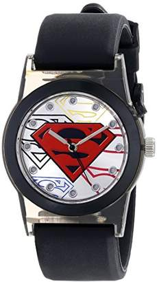 Superman Kids' SUP9117 Light-Up Watch with Black Rubber Strap