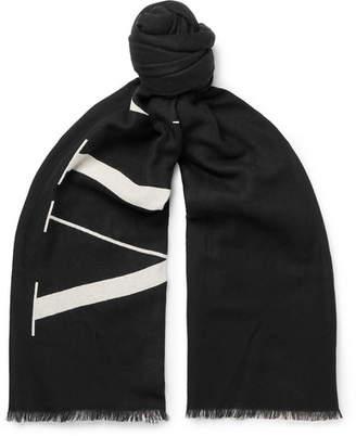 Valentino Garavani Logo-Print Wool Scarf - Men - Black