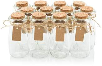 Glass Favor Jars With Cork Lids - Mason Jar Wedding Favors - Apothecary Jars Milk Bottles With Personalized Label Tags and String - 3.4oz [12pc Bulk Set] Ideal For Spices