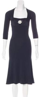 Just Cavalli Three-Quarter Sleeve Midi Dress