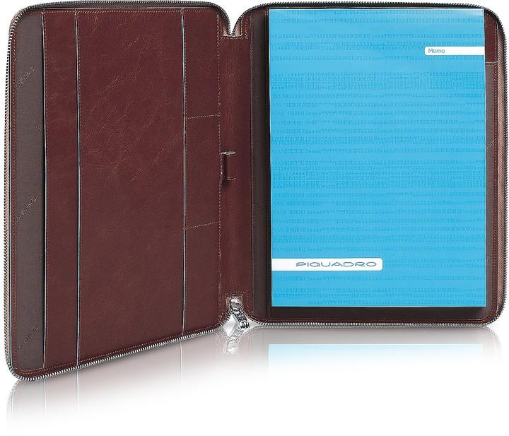 Piquadro Blue Square - Zip Around Slim Notepad Leather Holder