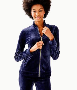 Lilly Pulitzer Jayla Velour Ruffle Zip Up Jacket