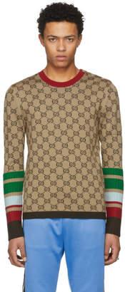 Gucci Tan GG Jacquard Crewneck Pullover