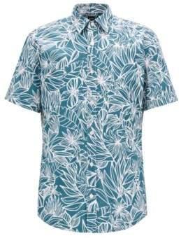 BOSS Hugo Floral-print slim-fit shirt in washed cotton XL Dark Green