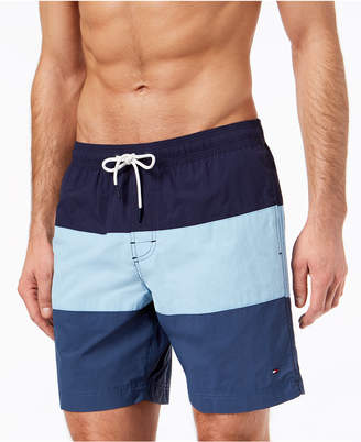 """Tommy Hilfiger Men's 7"""" Cannon Colorblocked Big & Tall Swim Trunks, Created for Macy's"""