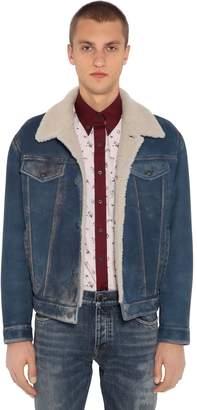 Prada Denim Effect Washed Shearling Jacket