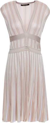 Roberto Cavalli Pleated Ribbed-knit Mini Dress