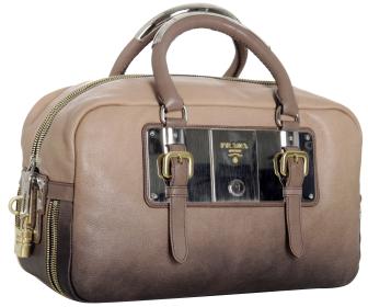 Prada nude ombré leather plated boston bag
