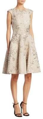 Talbot Runhof Jacquard Fit-And-Flare Dress