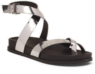Leather Footbed Ankle Wrap Sandals