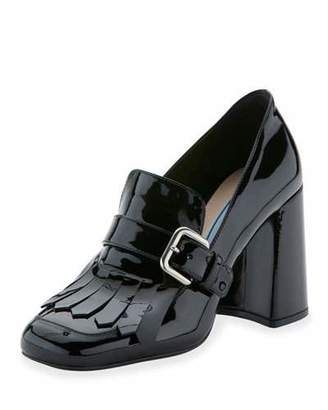 Prada Patent Leather Kiltie 85mm Pump, Nero $790 thestylecure.com