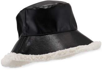 CHARLOTTE SIMONE Billie Faux Leather Bucket Hat w/ Contrast Faux Fur Trim
