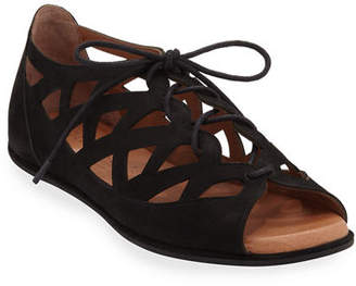 Gentle Souls Betsi Laser-Cut Lace-Up Sandals