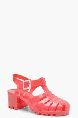 boohoo Jelly Low Block Sandals
