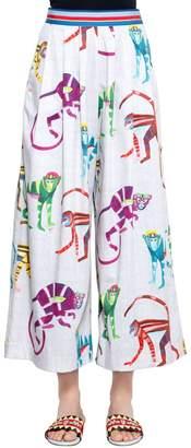 Stella Jean Monkey Print Cropped Wide Cotton Pants