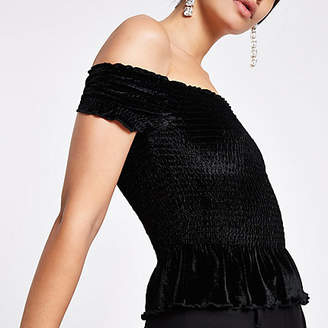 River Island Womens Black velvet shirred bardot crop top
