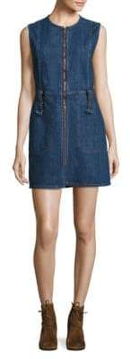 Zip-Front Denim Dress