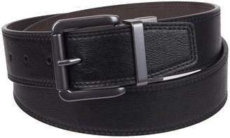 Weatherproof Men's Big and Tall Dress Belt with Single Prong Buckle, Tan Black/Copper Buckle