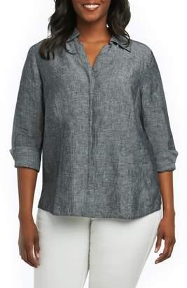 Foxcroft Taylor Three Quarter Sleeve Linen Shirt
