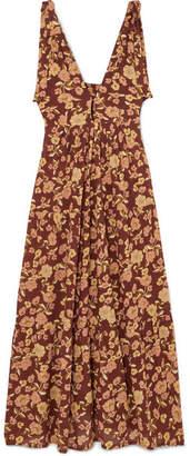 Faithfull The Brand Opatija Tiered Floral-print Crepe Midi Dress - Brown