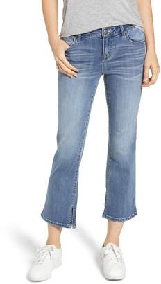 1822 Denim Slit Hem Crop Flare Jeans