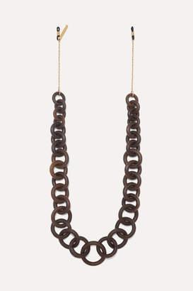 STAUD Gold-tone And Wood Sunglasses Chain - Brown