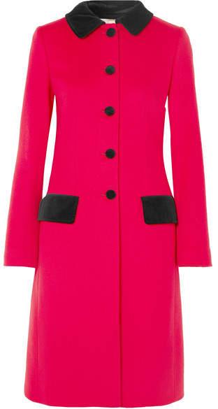 Velvet-trimmed Wool And Cotton-blend Coat - Red